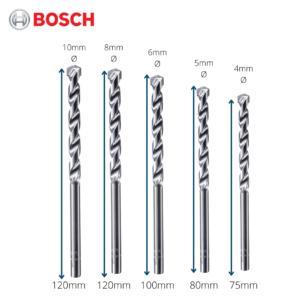 6050030042 -4-10mm 5pcs Bosch Silver Percussion Concrete Drill Bit 2608680726 (3)