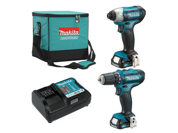             6010010122-MAKITA-CLX201-DF331D TD110D-12V-LI Combo kit Makita Li-Ion Battery Driver Drill 2x12V-2.0Ah BL1021B DC10WD