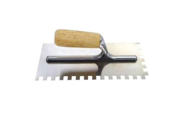 6020090221-WELLFORCE-WF16111-10mm Square Notch High Carbon Steel Wellforce 4 12x11in Notch Trowel With Wood Handle