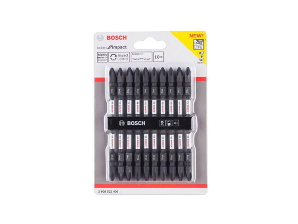 602008101301-BOSCH-10p PH2-110mm + Impact Bosch Magnetised Screwdriver Bit 2608522406