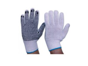 603004000801-CSM-12pr 7322 Blue Dot Polyester Cotton Glove