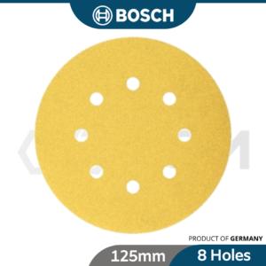 6040030137 - BOSCH Velcro Sanding Disc Sand Paper 8 Holes [125mm] X 60 80 100 120 150 180 220 240 280 320 400 500 600 [2608608]