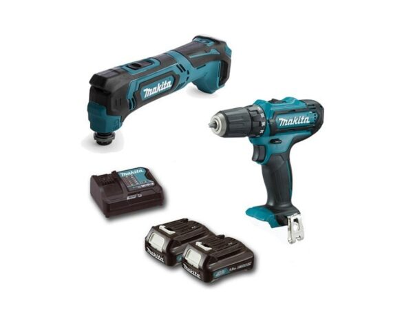 6010010126-MAKITA-CLX206AX2-DF331D+TM30D-12V-LI Combo kit Makita Li-Ion Battery Driver Drill + Multi Tools 2x12V-2.0Ah BL1021B+DC10WD