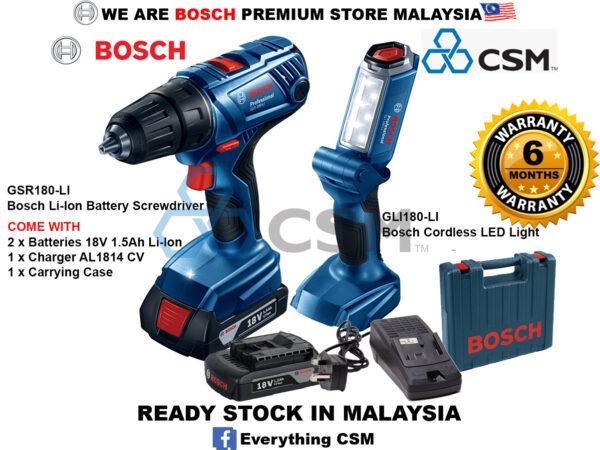 6010010164-BOSCH-GSR180-LI + GLI180-LI Bosch Professional Cordless Driver Kit 2x1.5Ah Battery & AL1814CV 06019F81L3