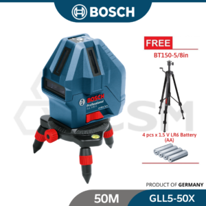 6010150082- GLL5-50X+BT150-58in Kit Professional Bosch Self Levelling Line Laser 50M 0.5mm 0601063N81