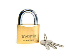 6080160340-TRI-CIRCLE-1p 266-63mm Tri-Circle Brass Padlock