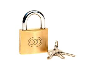 6080160342-TRI-CIRCLE-1p 263-32mm Tri-Circle Brass Padlock