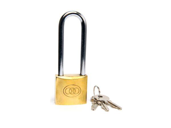 6080160585-TRI-CICRLE-L263-32mm Tri-Circle Long Shackle Brass Padlock