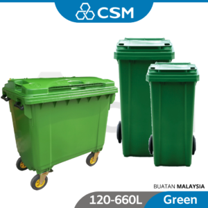 6110100062-CSM Green Two Wheel Mobile Garbage Dustbin With Cover 120L 240L 660L