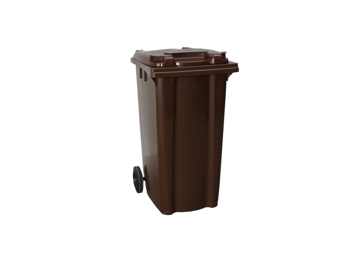 6110100408-CSM-120L Brown CSM Two Wheel Mobile Garbage Dustbin With Cover