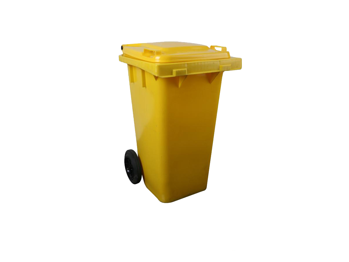 6110100409-CSM120L Yellow CSM Two Wheel Mobile Garbage Dustbin With Cover