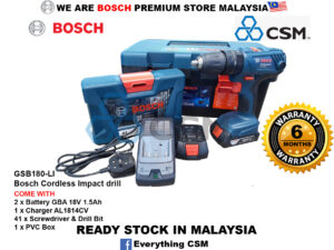 6010010177-BOSCH-Limited GSB180-LI + 41p Screwdriver & Drill Bit Bosch Impact Battery ScrewDriver 18V-1.5Ah AL1814CV 230V 06019F83L2