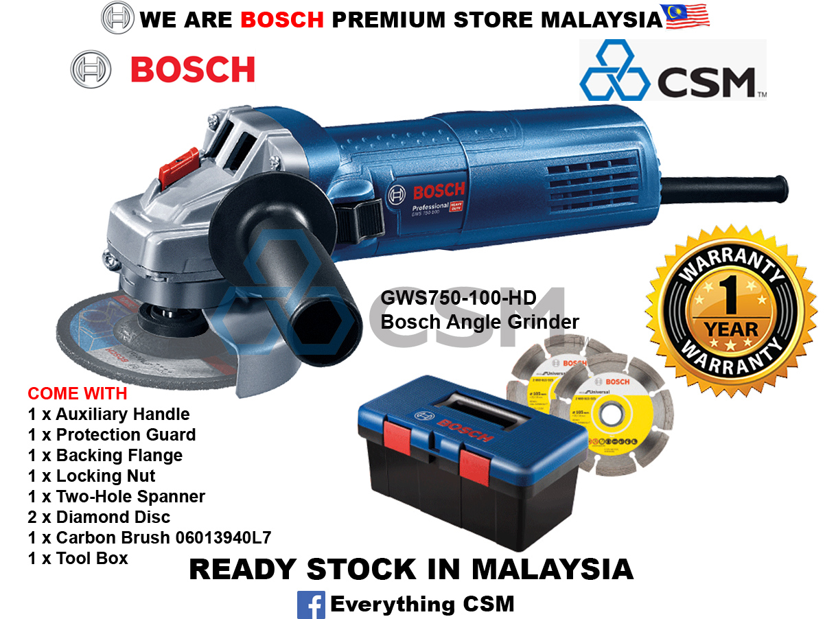 6010070090-BOSCH-Limited GWS750-100-4in-HD Bosch Angle Grinder c-w Tool Box, 2xDiamond Disc & Carbon Brush 06013940L7