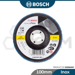 6040060064-BOSCH 1p P40 Inox Bosch Flap Disc, Grit 40,60,80,120 [100mm] (9)