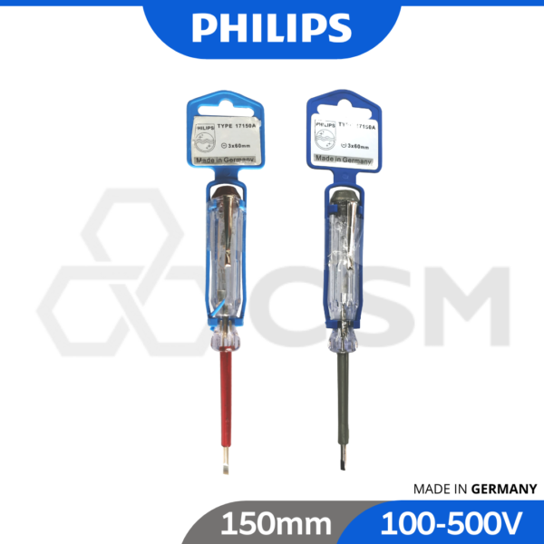 6020080770 - PHILIPS Professional Electrician Household Voltage Test Pen 100-500V Electric Pencil 17150A 3x52mm_