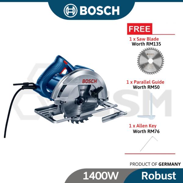 6010100131-BOSCH GKS140 Circular Saw 1400W 240V cw Blade & Guide 06016B30L1