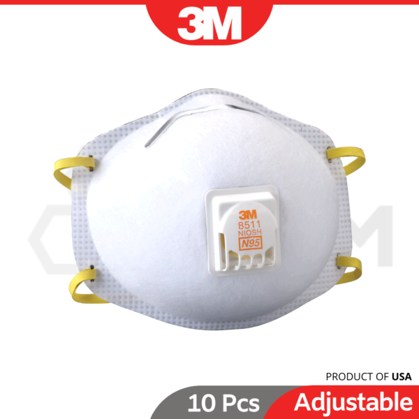 6030030061-10p 8511 3M N95 Particulate Respirator With Cool Flow Valve (3)