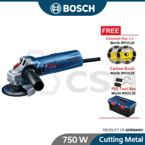 Limited GWS750-100-4in-HD Bosch Angle Grinder cw Tool Box, 2xDiamond Disc & Carbon