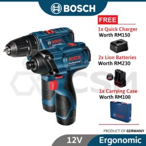 6010010098 - BOSCH GSR120Li + GDR120Li Combo Cordless Impact Driver 2x2.0AHGAL 12V-20 06019G80L3_