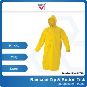 6030070032 - PICASAF M L XL XXL F46ZB Yellow Lining PVC Raincoat Zip & Button Tick 0 (2)