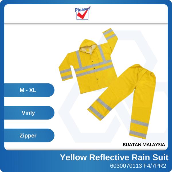 6030070111 - PICASAF F47PR2 M L XL Yellow Reflective PVC Rain Suit Zip & Button Tick 0 (1)
