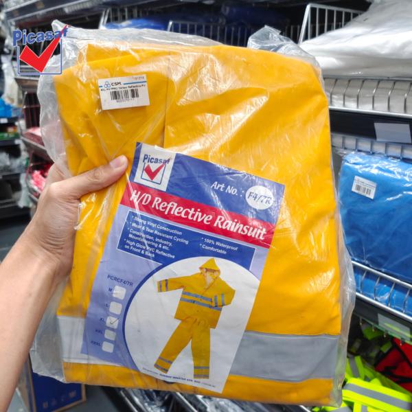 6030070111 - PICASAF F47PR2 M L XL Yellow Reflective PVC Rain Suit Zip & Button Tick 0 (7)