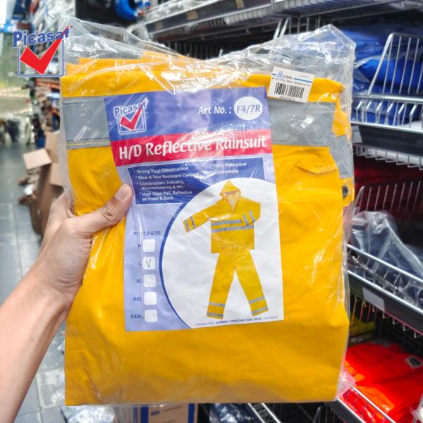 6030070112 - PICASAF F47PR2 M L XL Yellow Reflective PVC Rain Suit Zip & Button Tick 0 (6)
