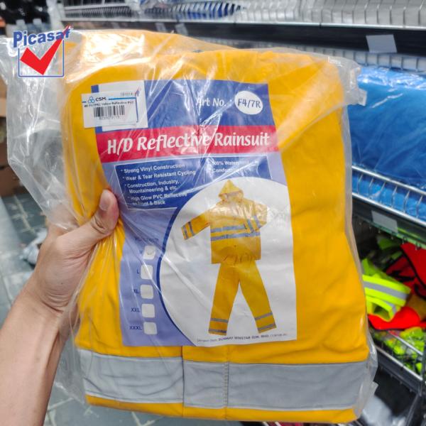 6030070113 - PICASAF F47PR2 M L XL Yellow Reflective PVC Rain Suit Zip & Button Tick 0 (5)