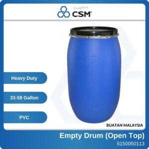 6150050113 - 33-59 Gallon Blue PVC New Open Top Empty Drum (1)